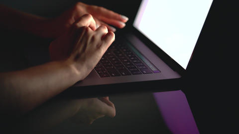 Hands or woman office worker typing on the keyboard at night Footage