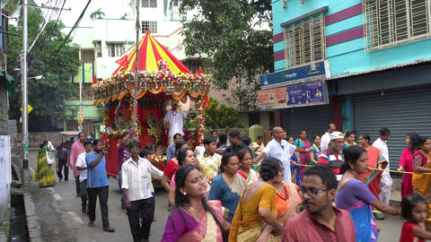 Rath jatra festival - Lord Jagannath being worshipped Live Action