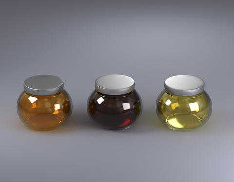 3 glasses of jars with honey フォト