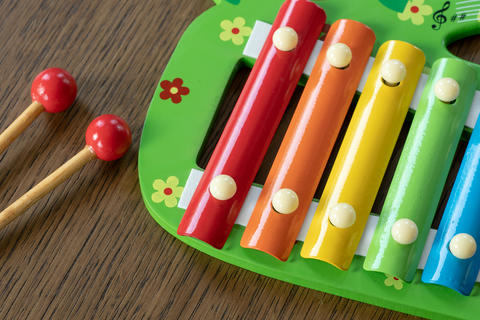 Musical instrument xylophone. Rainbow colored toy xylophone Fotografía