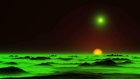Glowing Objects (UFO) and Green Mist CG動画素材