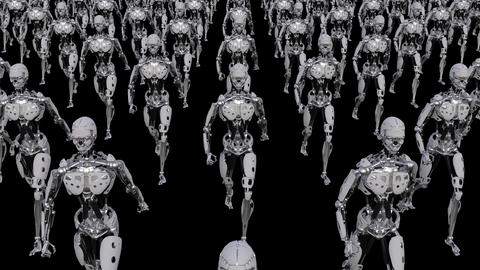 A Crowd of Robots is Moving Animation