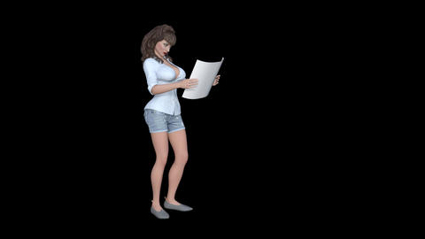 A girl is reading a something on a piece of paper, Animation, Alpha Channel Animation