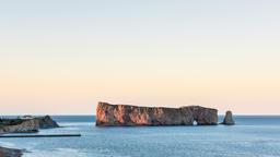 Timelapse of sunset, dusk, dusk, twilight of Rocher Perce Rock in Gaspe Footage