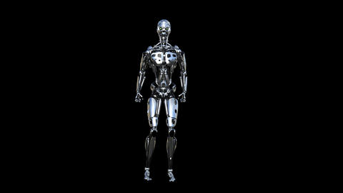 robot jumps, loop, animation, transparent background Stock Video Footage
