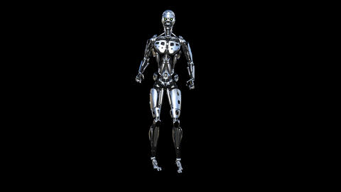 robot jumps, loop, animation, transparent background CG動画素材