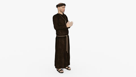 the monk prays,loop,animation,transparent background Animation