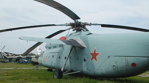 Civil and military aircraft, helicopters in detail Stock Video Footage
