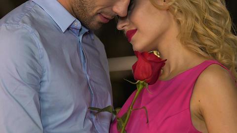 Couple hugging, nuzzling, blond girl smelling red rose,…, Live Action
