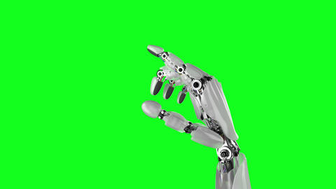 Robotic Hand Presses His Finger on a White and Green Backgrounds Animación