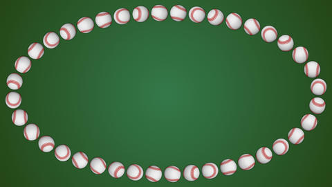 Baseball ball american sport green border frame background Animation