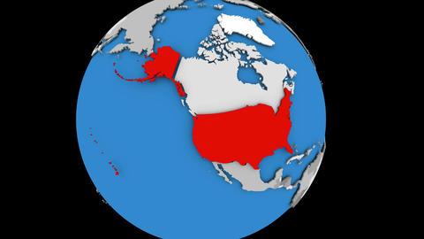 USA on political globe Animation