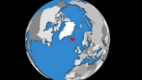 Iceland on political globe Animation
