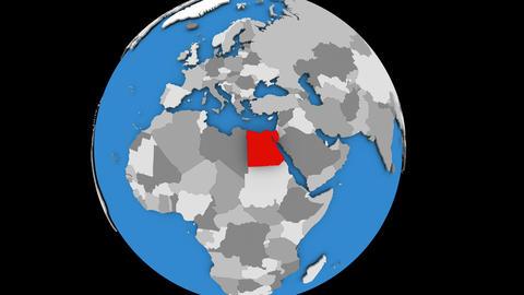 Egypt on political globe Animation