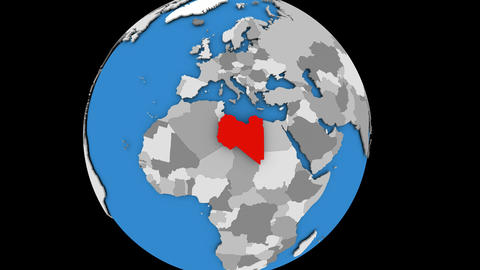Libya on political globe Animation