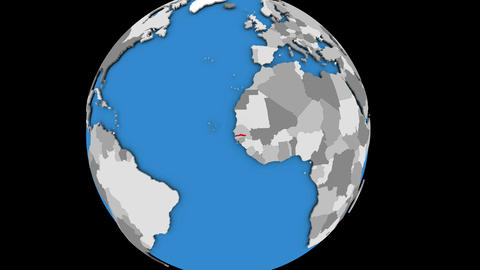 Gambia on political globe Animation