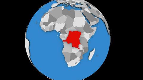 Democratic Republic of Congo on political globe Animation