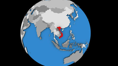 Vietnam on political globe Animation