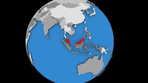 Malaysia on political globe Animation