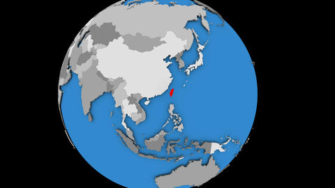 Taiwan on political globe Animation