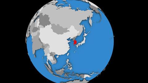 South Korea on political globe Animation
