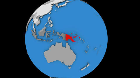 Papua New Guinea on political globe Animation