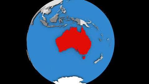 Australia on political globe Animation