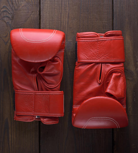 pair of leather red boxing gloves Photo