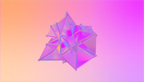 illustration of a shape metamorphosis of a polygonal semi transparent model フォト