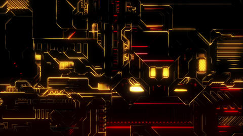 Cyber Tech Digital Background - Front View zoom out - Red Gold Animation