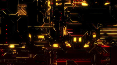 Cyber Tech Digital Background - Front View zoom out - Red... Stock Video Footage