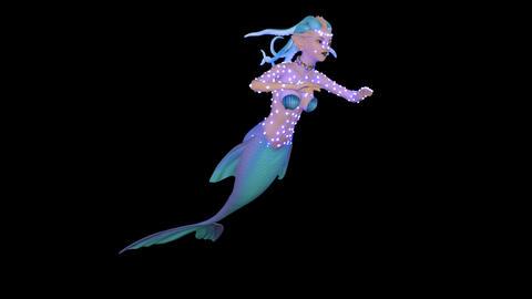 [alt video] Luminous Mermaid Swims, Loop, Animation, Transparent...