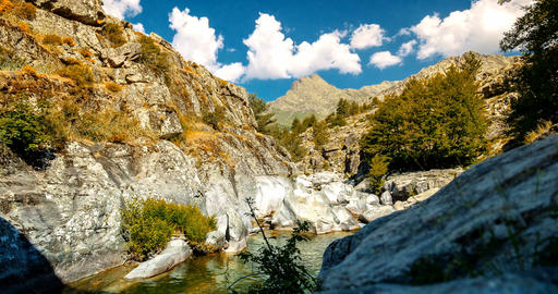 4K, Time Lapse, View on a gorge, Restonica Valley, Corsica Footage
