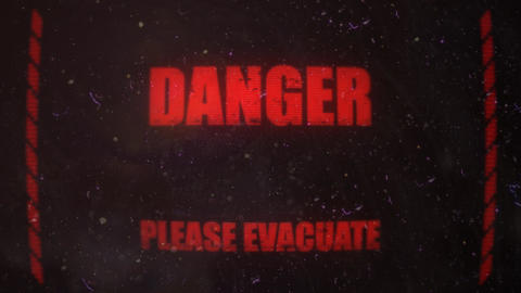 Biological Evacuation Alert Signal On An Old Dirty Screen stock footage