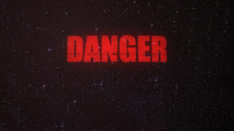 Danger Signal Alert with a Skull on an Old Dirty Screen Footage