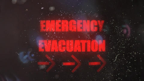 Emergency Evacuation With Pointing Arrows Alert on an Old Dirty Screen Footage