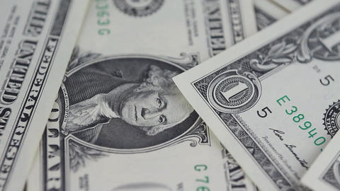 Dollars Money Banknotes Rotating Table Video Background Footage