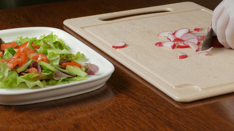 Vegetable salad, healthy food at kitchen Footage
