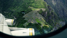 Machu Picchu - View From Airplane Window stock footage