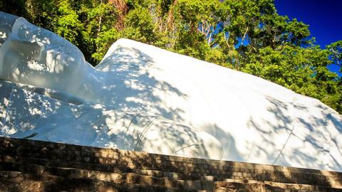 Monumental Buddha Statue Reclining Posture Ta Cu Mountain Temple Footage
