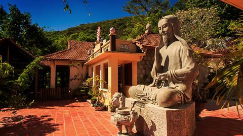 Monumental Sitting Buddha Statue Ta Cu Mountain Temple Footage