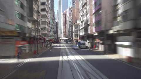 Streets of Hong Kong from tram, timelapse Footage