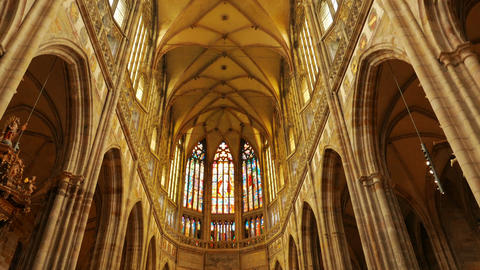 Tilting Shot Of The Central Aisle Of St Vitus Cathedral In Prague, Czech Republi stock footage