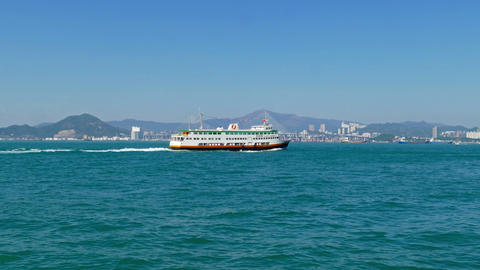 Ferry boats in Hong Kong and Stonecutters bridge Footage