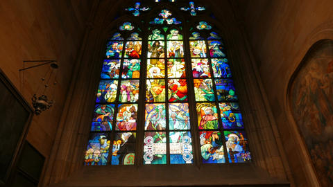 Stained-glass Window Detail in St Vitus Cathedral in Prague, Czech Republic (Cze Footage