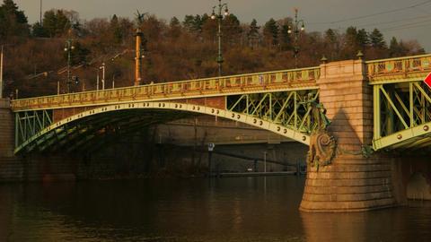 Panoramic View of the Cechuv Bridge in Prague, Czech Republic (Czechia) Footage