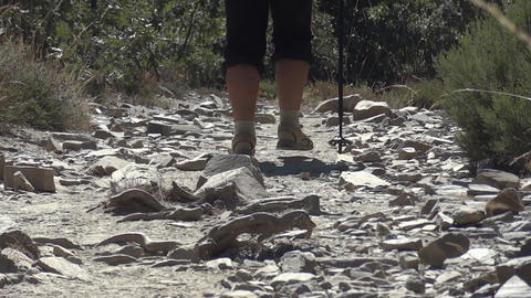 Feet of a pilgrim which is shod with sandals that climb a gravel path through th Footage