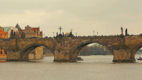 Timelapsed Approach of the Charles Bridge in Prague, Czech Republic (Czechia) Footage