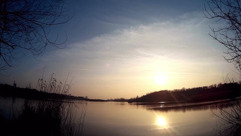 Sun reflecting on the lakes surface Footage