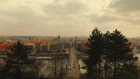 Timelapsed Panoramic View of Prague, Czech Republic (Czechia) from Letna Park Footage